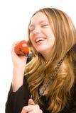 Bussinesswoman con la conversazione del microtelefono fotografia stock