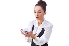 Bussineswoman anoyed by the waste of paper and Royalty Free Stock Photography