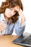 Bussineswoman Pensive Fotografia Stock Libera da Diritti
