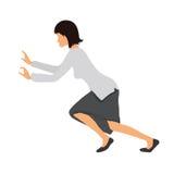 Bussineswoman woman pushing something. Vector illustration. Stock Image