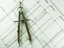 Bussola & disegno Fotografia Stock