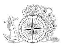 Bussola con l'ancoraggio ed il polipo illustrazione vettoriale