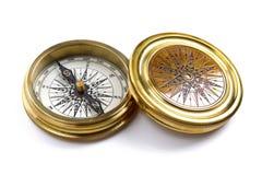 Bussola dell'ottone dell'oggetto d'antiquariato Fotografia Stock Libera da Diritti