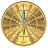 Bussola dorata - windrose - volante illustrazione di stock