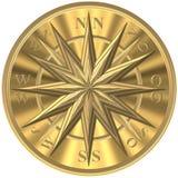 Bussola dorata - windrose - volante illustrazione vettoriale
