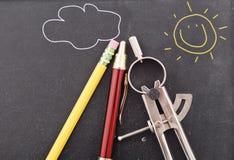 Bussola e matita Fotografia Stock Libera da Diritti