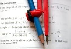 Bussola e matita Immagine Stock