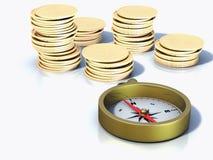 Bussola e monete Fotografie Stock
