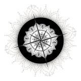 Bussola grafica della rosa dei venti estratta con gli elementi floreali Immagine Stock