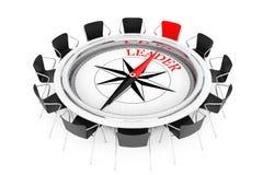 Bussola sopra la manifestazione della tavola rotonda al capo Chair rappresentazione 3d Fotografia Stock