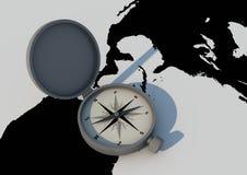 Bussola sul programma di mondo Immagini Stock Libere da Diritti