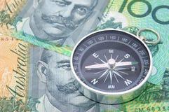 Bussola sulla fattura del dollaro dell'Australia Fotografia Stock Libera da Diritti