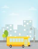Bussritter runt om stad. vektorbild royaltyfri illustrationer