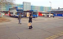 Bussstation, Bedford, Förenade kungariket Arkivbilder