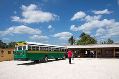 Bussstation, Belize Arkivbild