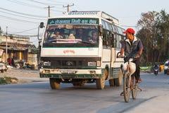 Bussstation i Pokhara Fotografering för Bildbyråer