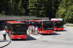 Bussstation på Kehlstein, Obersalzberg, Tyskland Arkivfoto