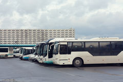 Bussstationen, många bilar Arkivbild