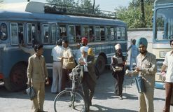 1977. India. Busstation. Waiting for departure. Stock Photos