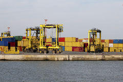 Bussy container harbour Royalty Free Stock Image