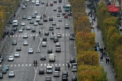 Bussy gata i Paris Arkivfoton