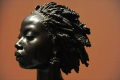 Bust of African Woman Sculpture. CHICAGO, IL – MARCH 18: Bust of African Woman by Charles Henri Joseph Cordier at the Art Institute of Chicago on March 18 Royalty Free Stock Photo