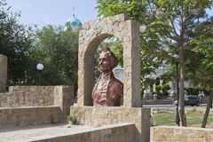 Bust of Alexander Vasilyevich Suvorov in the garden named after Karaev in the city of Evpatoria, Crimea. Evpatoria, Republic of Crimea, Russia - July 19, 2017 Royalty Free Stock Image