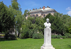 The bust of August Senoa. Famous Croatian writer on the Josip Juraj Strossmayer Square, Zagreb, Croatia Stock Photo