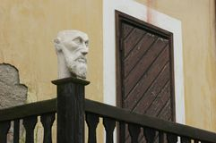 Bust at balcony. Detail of bust on balcony  in Prague old town Stock Image