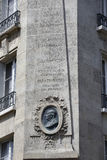 Bust of Benjaman Franklin House, Paris France, Corner  Raynouard and rue Singer in the Passy neighborhood lived here 1777-1785, PA Stock Photos