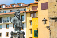 Bust of Benvenuto Cellini on the Ponte Vecchio Stock Photo