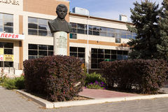 Bust of the boy of scout Sashi Filippova. Volgograd, Russia. VOLGOGRAD, RUSSIA - October 14, 2015: the Monument as a bust to the boy to the scout of great Royalty Free Stock Image