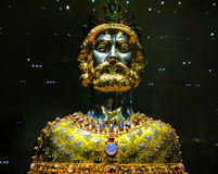 Bust of Charlemagne, Cathedral in Aachen, Germany. AACHEN, GERMANY-DECEMBER 15, 2014: The Bust of Charlemagne is a reliquary created around 1350, in which the Stock Images