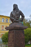 Bust of the count S. L. Raguzinsky on Staroladozhsky Kanal Street in Shlisselburg, Russia Stock Image