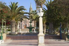 Bust of Cristobal Colon at the central square of the city of Arica, Chile. Stock Images