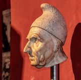 A Bust in the Doge`s Palace in Venice stock image