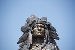 Native American Indian. Bust of an elaborate and very detailed Native American Indian Statue royalty free stock photo