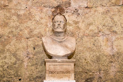 Bust of Emperor Diocletian, underground of Diocletian palace, Split, Croatia. The view of bust of Emperor Diocletian, underground of Diocletian palace, Split Royalty Free Stock Photography