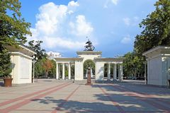 Bust of Georgy Zhukov and Memorial arch. Krasnodar, RUSSIA - AUGUST 18, 2015: the Bust of Georgy Zhukov and Memorial arch `They are pride Kuban Stock Images
