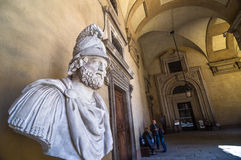 Bust of the Greek warrior in the Pitti Palace - Florence, Italy. FLORENCE, ITALY - APRIL 14, 2013: Bust of the Greek warrior in the Pitti Palace - Florence Royalty Free Stock Photography