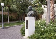 Bust honoring Salve D`Esposito  in municipal park, Sorrento Royalty Free Stock Photos