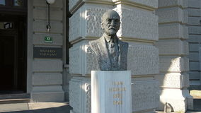 The bust of Ivan Hribar. At the entrance of the university building Liubljana stock video