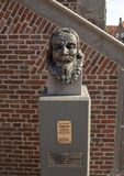 Bust of Jan Adriaanszoon Leeghwater at The Town Hall, De Rijp, Netherlands. Pictured is a bust of Jan Adriaanszoon Leeghwater at The Town Hall, De Rijp royalty free stock images