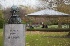 James Joyce bust in St. Stephen`s Green. Bust of the late novelist and poet James Joyce in St. Stephen`s Green in Dublin, Ireland Royalty Free Stock Photo
