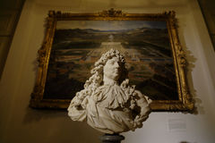 BUST OF LOUIS XIV and Painting -Petit Trianon Versailles, France - shot August 2015 Royalty Free Stock Photo