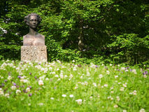 Bust of Ludwig II on meadow Stock Photo