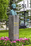 Bust of Norwegian composer and musician Adolf Thomsen in Tromso, Norway. Bust of Norwegian composer and musician Adolf Thomsen 1852-903 in the Kirkeparken in stock photos