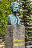 Bust of Norwegian composer and musician Adolf Thomsen in Tromso, Norway. Bust of Norwegian composer and musician Adolf Thomsen 1852-903 in the Kirkeparken in stock image