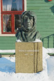 Bust of the polar explorer Roald Amundsen in front of the Polar museum building in Tromso, Norway. Royalty Free Stock Image