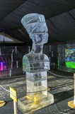 Bust of Queen Nefertiti in the exhibition of ice sculptures. Stock Photo
